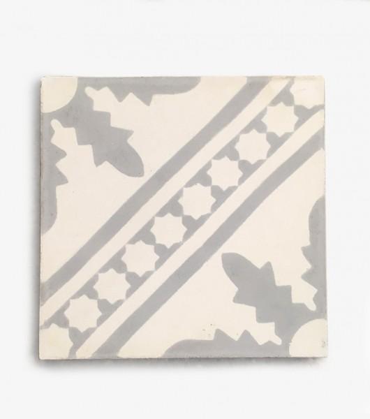 Zementfliese, weiß, grau, T 20 cm, B 20 cm, H 2 cm