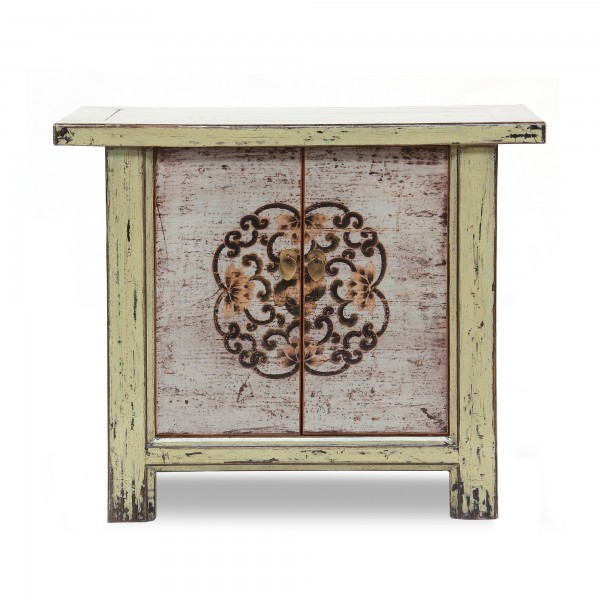 Schrank, 2 Türen , grün, weiß antik, T 44 cm, B 82 cm, H 68 cm