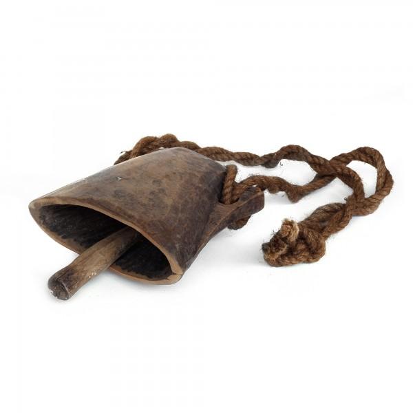 Antike hölzerne Kuhglocke L, natur, T 20 cm, B 14 cm, H 14 cm