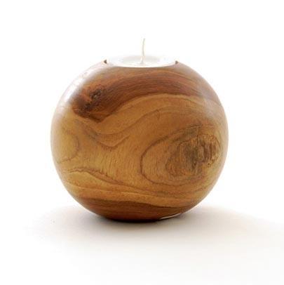 Kugelteelichthalter Teak groß, H 8 cm, Ø 10 cm