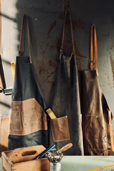 Schürze Cotton/Leder, grau, braun, T 89 cm, B 59 cm