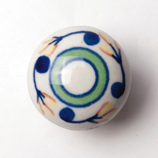 Türknauf rund, weiß/blau/grün, Ø 4 cm