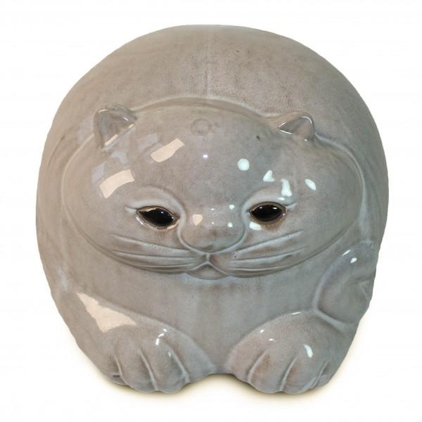 Katzenskulptur liegend, beige, L 34 cm, B 33 cm, H 28 cm