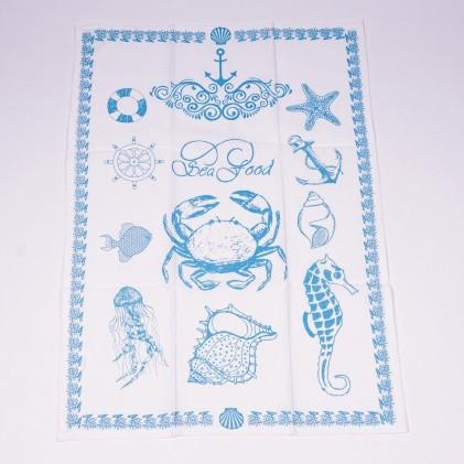 """Geschirrtuch """"Sea food"""", blau/weiß/, L 70 cm, B 50 cm"""
