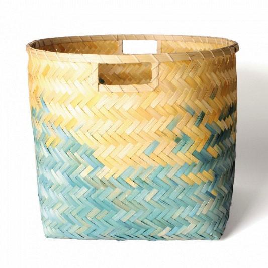 Wäschekorb aus Bambus L, natur/türkis, Ø 40 cm, H 34 cm