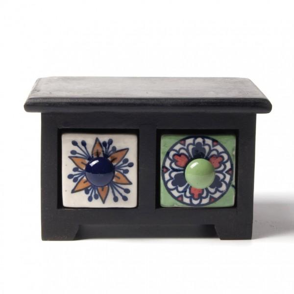Schmucktruhe mit 2 Schubladen, schwarz/weiß/grün, L 11 cm, B 16 cm, H 10 cm