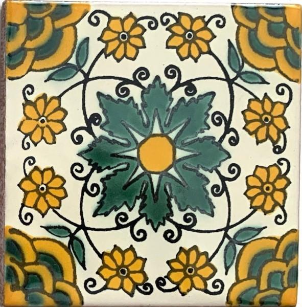 Kachel 'Carmen', gelb, grün, T 10 cm, B 10 cm, H 0,5 cm