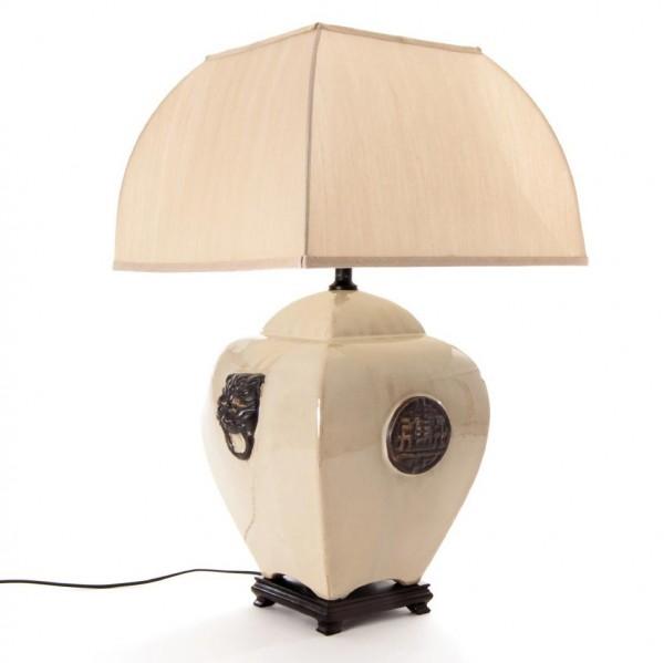 """Keramikleuchte """"Löwenkopf"""", beige, Schirm weiß"""