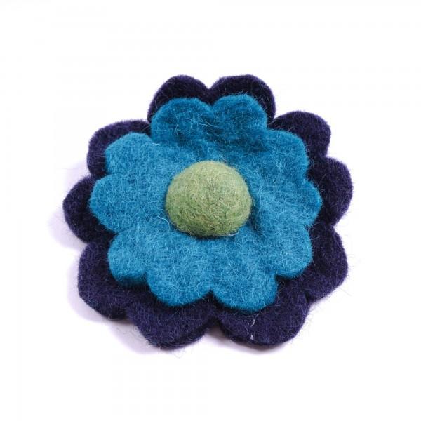 """Brosche """"Tagetesblume"""", aus Filz, blau/türkis"""