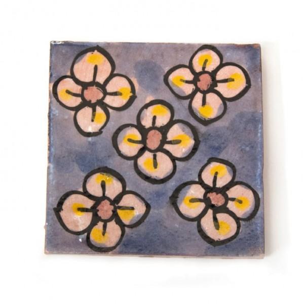 """Fliese """"5 fleurs"""", blau, L 10 cm, B 10 cm, H 1 cm"""
