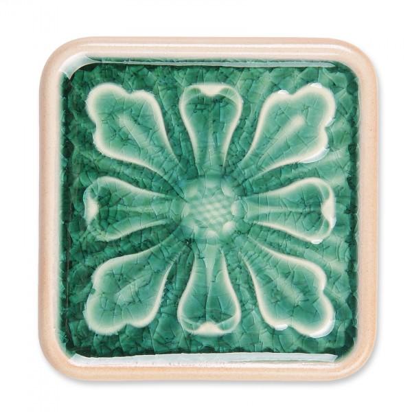 Untersetzer 'Blatt', grün, L 10 cm, B 10 cm, H 1 cm