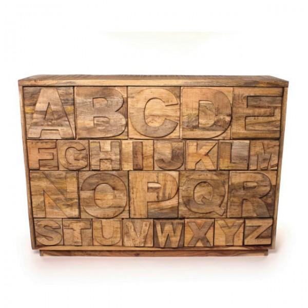"""Sideboard """"ABC"""" aus Mangoholz, L 37 cm, B 128 cm, H 91 cm"""