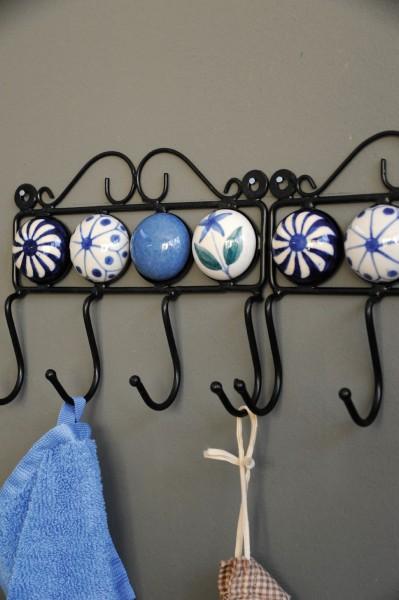 Wandhaken 4fach, blau/weiß, L 4,5 cm, B 18,5 cm, H 15 cm