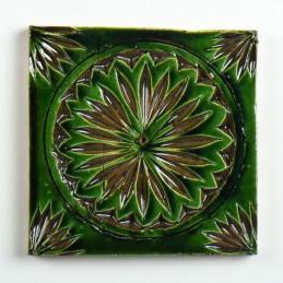 handglasierte Kachel 'Soleil vert', grün, L 10 cm, B 10 cm