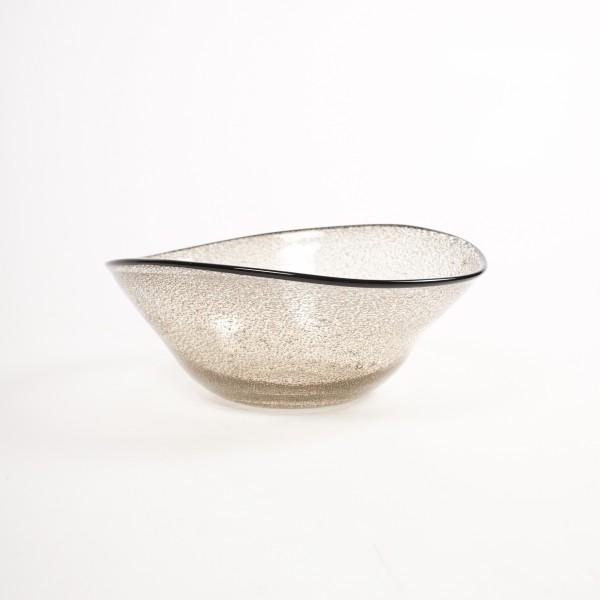 Glasschale, klar/braun, L 26 cm, B 30 cm, H 10 cm