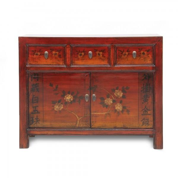 Sideboard, 3 Schubladen, 2 Türen, rot, T 40 cm, B 110 cm, H 85 cm