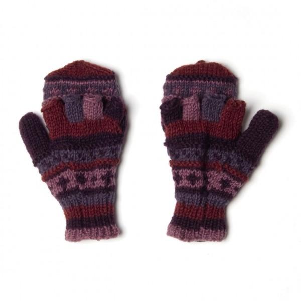 Handschuhe, lila/pink, Finger klappbar