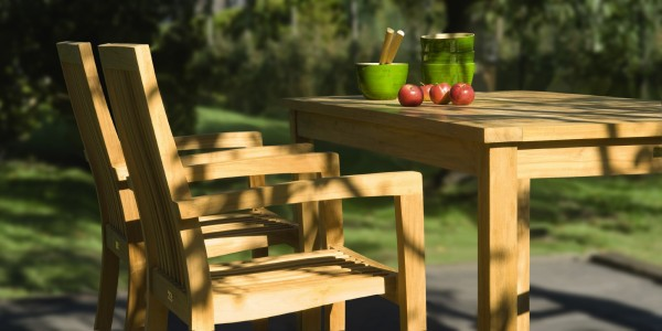 Gartenstuhl 'Lund' aus Teakholz, stapelbar, natur, B 52 cm, H 91 cm