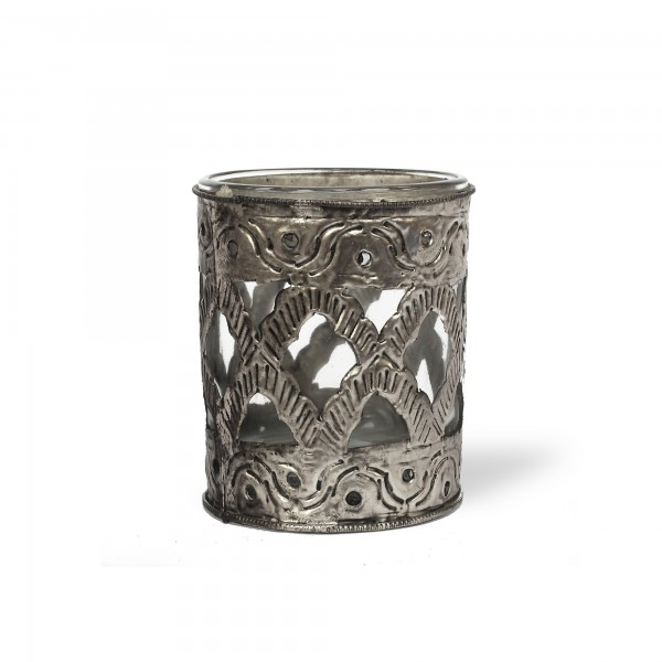Windlicht 'Ami', silber, Ø 8 cm, H 10 cm