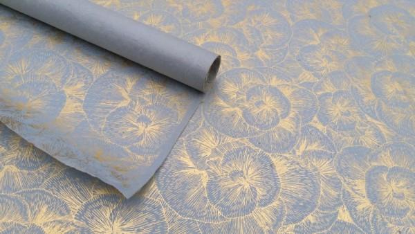 Geschenkpapier floral, hellblau, beige, L 76 cm, B 51 cm