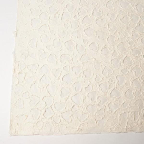 Geschenkpapier handgeschöpft, weiß, L 55 cm, B 80 cm