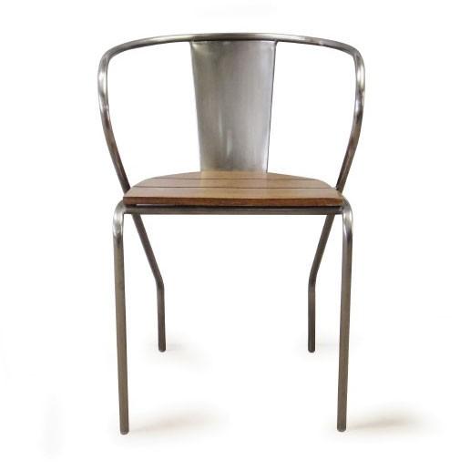 Metallstuhl mit Holzsitz, T 47 cm, B 53 cm, H 78 cm