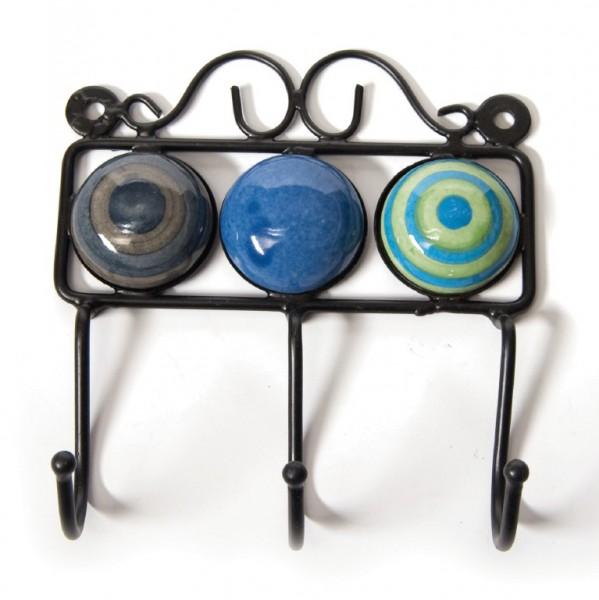 Wandhaken 3fach, blau/grün/braun, L 4,5 cm, B 14,5 cm, H 15 cm