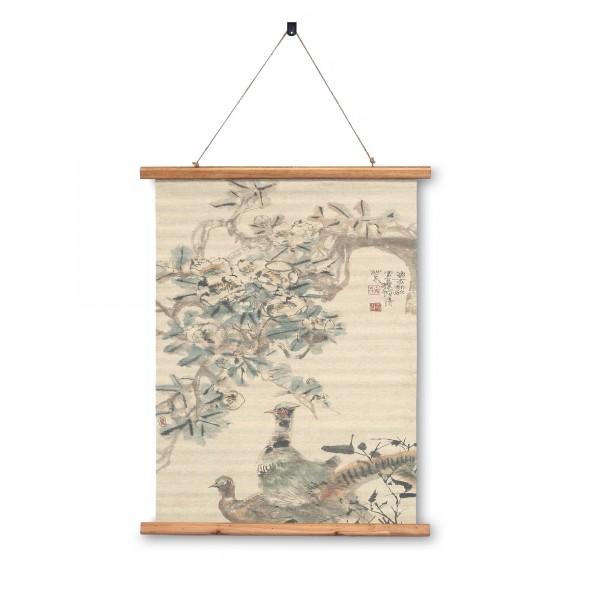 Rollbild auf Leinwand 'Birds in Tree', multicolor, T 2 cm, B 63 cm, H 78 cm