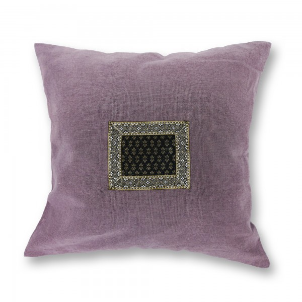 Kissenhülle aus Hanf (Applikation alt), lila, T 45 cm, B 45 cm