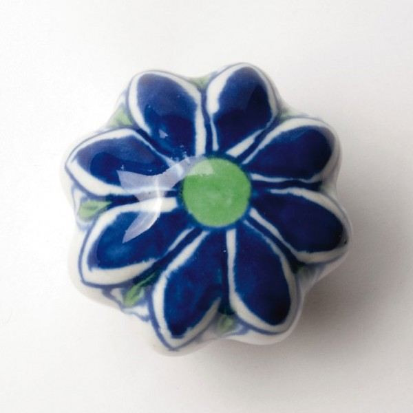 "Türknauf ""Blume"", weiß/blau, Ø 5,5 cm"