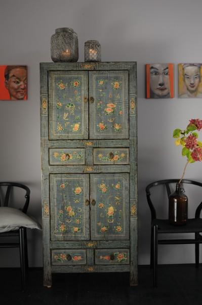 Schrank in chinesischem Stil, aus Ulmenholz, L 40 cm, B 75 cm, H 175 cm