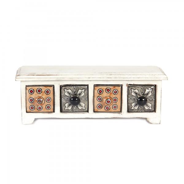 Schubladentruhe mit 4 Schubladen, weiß, L 10 cm, B 30 cm, H 10 cm