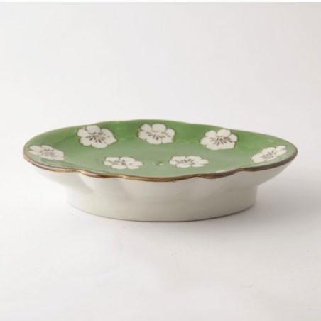 Seifenschale, grün/weiß, L 11 cm, B 15,5 cm, H 3 cm