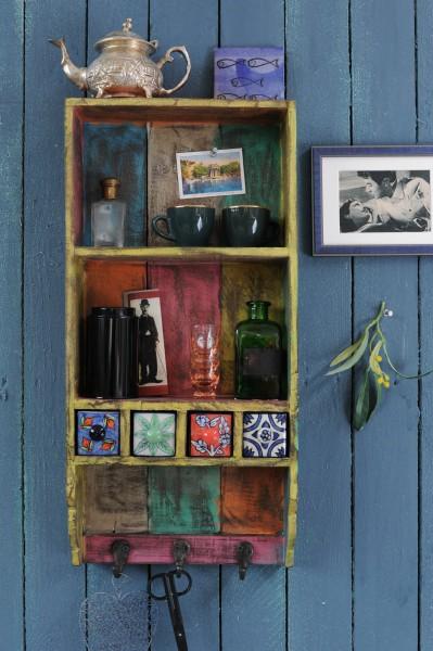 Hängeregal mit Haken und 4 Keramikschüben, multicolor, L 10 cm, B 29 cm, H 62 cm