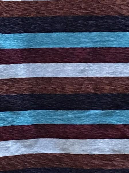Decke aus Sabra, hellblau, braun, silber, T 300 cm, B 200 cm