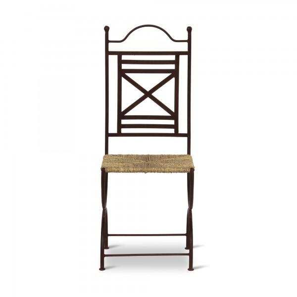 Eisenstuhl 'Maebar' mit Seegras-Sitzfläche, schwarz, T 40 cm, B 40 cm, H 102 cm