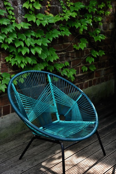 Sessel 'Rondo turquoise', grün, schwarz, T 84 cm, B 99 cm, H 83 cm