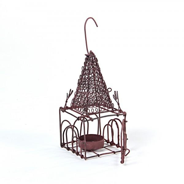 "Teelichthalter "" Voliere"", antik-rost, L 8 cm, B 8 cm, H 16cm"