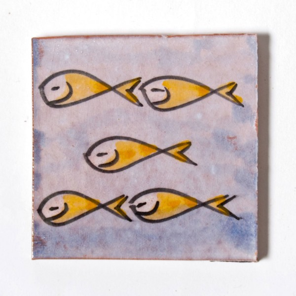 "Fliese ""poissons orange"", blau/gelb, L 10 cm, B 10 cm, H 1cm"
