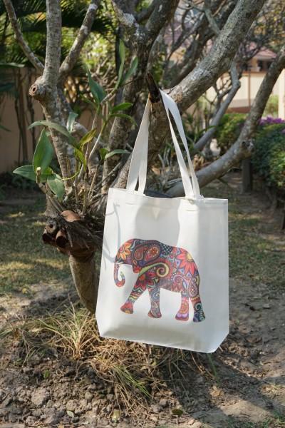 Stoffbeutel 'Elefant Blumen', multicolor, L 40 cm, B 9 cm, H 40 cm