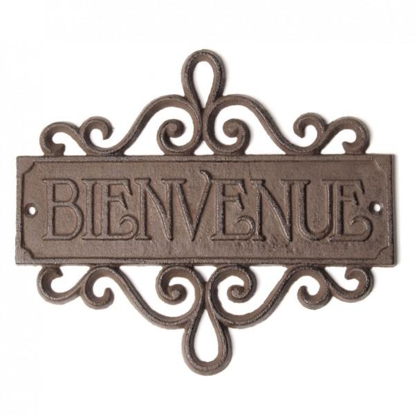 """Türschild """"Bienvenue"""", antik-braun, B 23 cm, H 20 cm"""