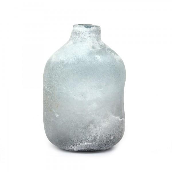 Glasvase 'Frost', weiß, T 15 cm, B 16 cm, H 28 cm