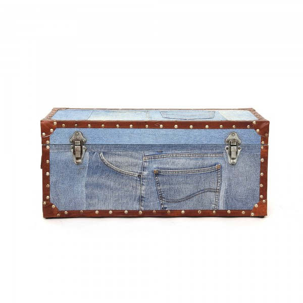 Kiste 'Jeanskoffer' S, blau, braun, T 28 cm, B 64 cm, H 28 cm