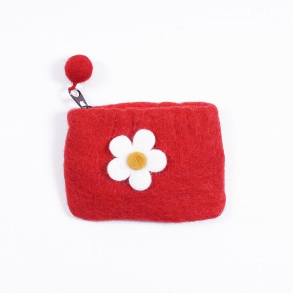 """Geldbörse """"Blüte"""", aus 100% Schafswolle, rot/weiß"""