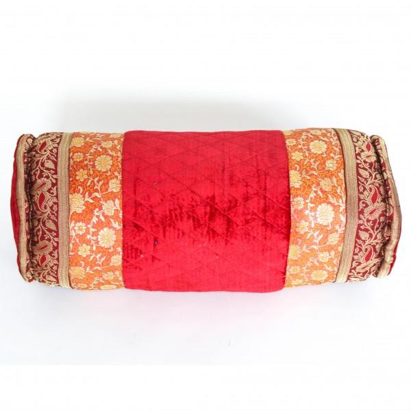 Kissenrolle, rot/gold, B 52 cm, Ø 20 cm
