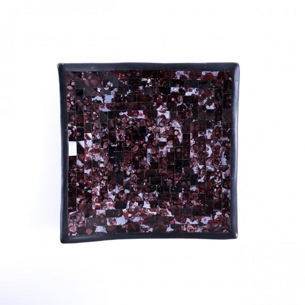 "Glasmosaikschüssel ""Blueberry"", lila/schwarz, L 25 cm, B 25 cm"