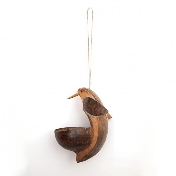 Vogelfutterschale, aus Kokosnuss geschnitzt, H 22 cm, Ø 26 cm