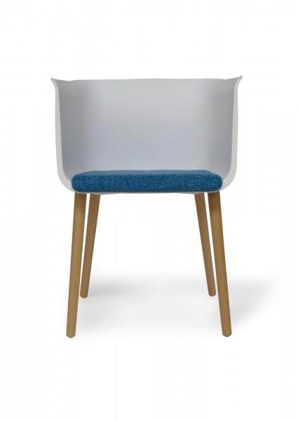 Stuhl 'Pedro', weiß, blau, T 53 cm, B 54 cm, H 77 cm