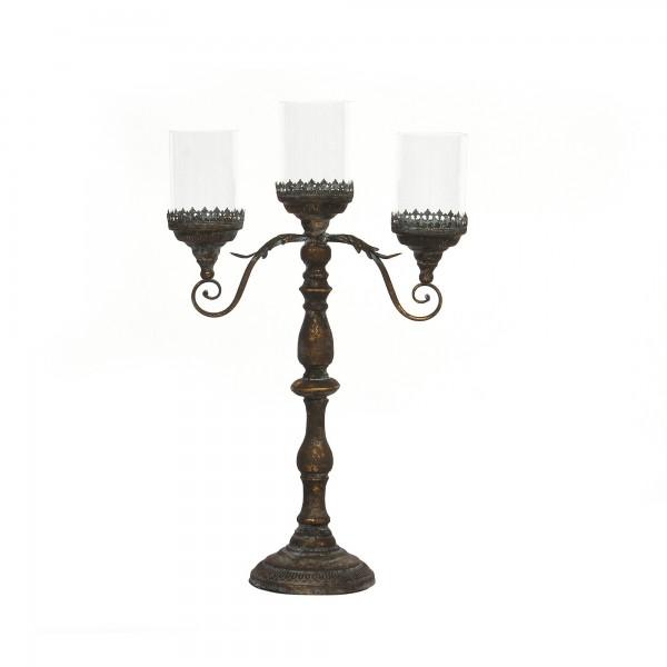 Kerzenhalter 3 Kerzen im Glas, H 76 cm, B 20 cm, T 42 cm