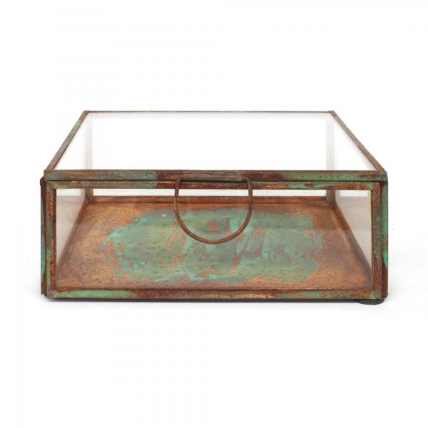 Glasbox, rostbraun, schwarz, T 14 cm, B 14 cm, H 5 cm